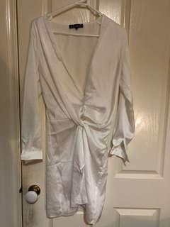 Meshki White Adara Mini Satin Dress-XS