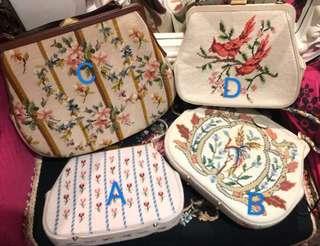 La BLANCHE Vintage handbag 1960s古董 復古十字繡花大手袋needle point