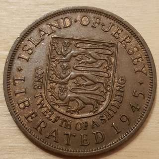 1945 Isle of Jersey Great Britain King George V 1/12 Shilling (Penny) Coin
