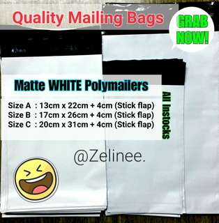 ✔Available] Matte White Polymailers