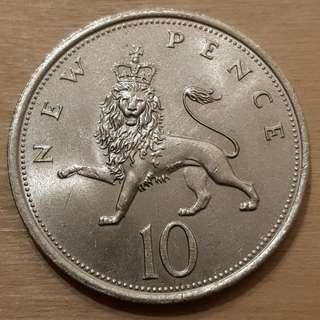 1980 Great Britain Queen Elizabeth II New 10 Pence Coin
