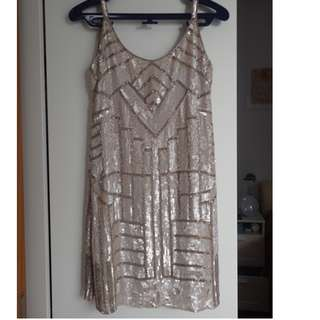Sleeveless Sequined Golden/Creme Dress by Parker