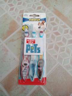 Firefly The Secret Life of Pets Toothbrush, Soft Bristles 3ct