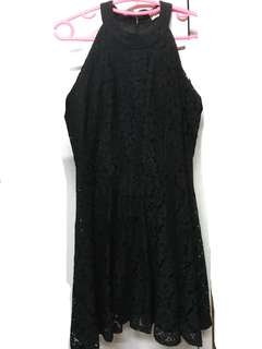 Halter black dress with lace