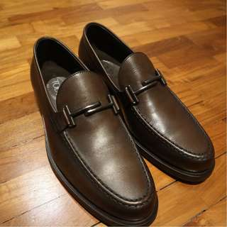 Tods Shoe Leather Loafer Brown Double T