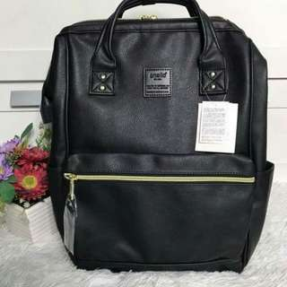 FREE SHIP Anello Bag PU Leather School Backpack back pack 3 tags carrot comp black