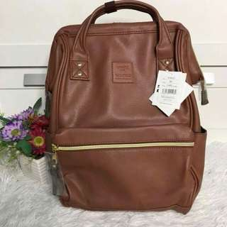 FREE SHIP Anello Bag Leather School Backpack back pack 3 tags carrot comp brown