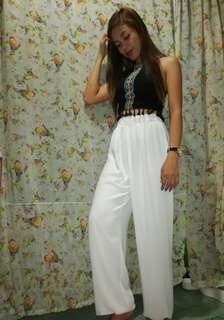 white wide pants