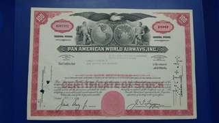 美國泛美航空機構1966年100股票(已註消),而家好多都係綱上買賣股票,全部電子化。而家都無咁靚紙張股票比你,只有印刷收劇一張。好直得收藏