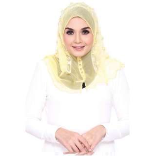Mini Halfmoon RANIA Premium Embroidered Lace Beaded Yellow