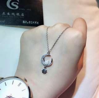 🚚 🌈香港正生純銀💕月兒心珍珠項鍊⭐️
