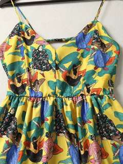 🚚 OshareGirl 05 歐美女士油畫塗鴉印花細肩帶洋裝連身裙