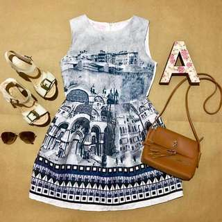 1AVE001 Plains & Prints Inspired Dress