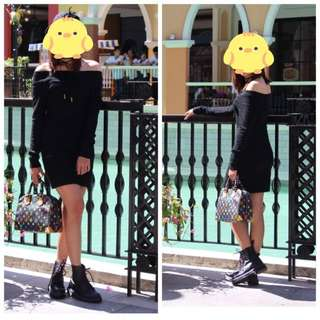 Black offshoulder dress