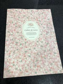 Pink floral A4 notebook with lines