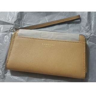 Coach Wallet Wristlet Almond Brown Leather Clutch