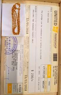 Pawnticket of 916gold chain for sale.