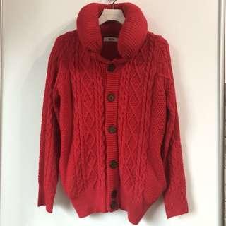 🚚 紅色針織外套。毛衣。正紅色。