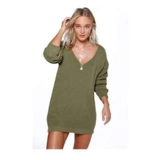Women's olive green sweater dress