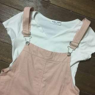 Korean pink skirt jumsuit