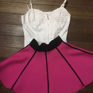 Pink neoprene like skirt