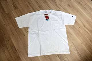 Champion heavy weight made in USA 美製厚磅口袋短T 白 T1011 beams 、good on、全新