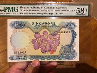 Rare Singapore Orchid $50 GKS Original 58 EPQ