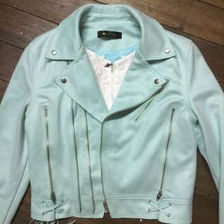 Mint green leather jacket (hard to let go)