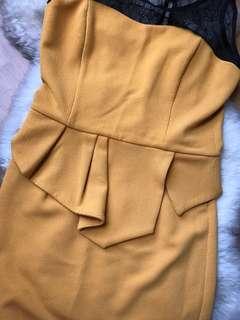Office wear dusty yellow lace peplum dress