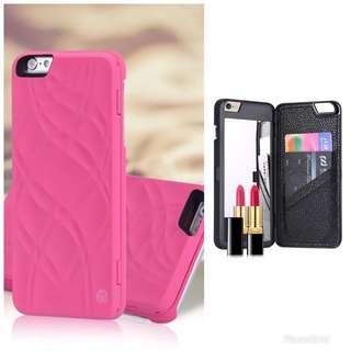 粉紅色I8Plus Case(附鏡子/卡片格)