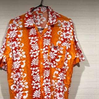 古著 復古 花襯衫 橘