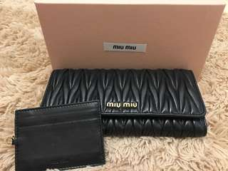 Miu Miu Lambskin Long Wallet - Black