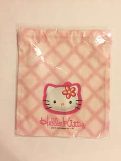Sanrio vintage Hello Kitty 索繩布袋 1998 19x22cm