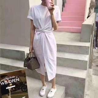 白色 扭結棉麻感洋裝