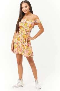 🚚 OshareGirl 05 美單花朵印花鬆緊一字領鈕釦綁帶連身裙洋裝