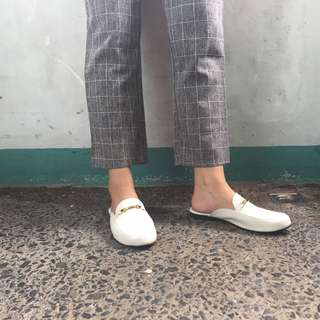 GUCCI INSPIRED MULES WHITE