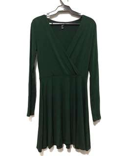 Forever 21 Emerald Green Ribbed Dress
