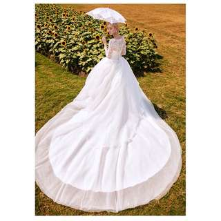 pre order white long sleeve Muslimah fishtail prom wedding bridal dress gown  RBMWD0170