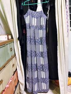 LOVE BONITO SIZE M BLUE/WHITE MAXI DRESS