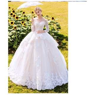 pre order cream long sleeve Muslimah fishtail prom wedding bridal dress gown  RBMWD0171