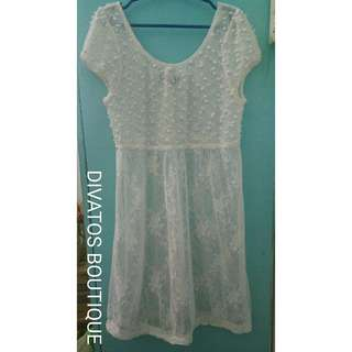 White See Through Lace Dress or Beach Cover-up (Summer or Swimming Cover-up)