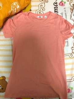 橙色純色短袖上衣