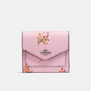 Coach Small Wallet With Cross Stitch Floral Print LILY CROSS STITCH FLORAL/SILVER