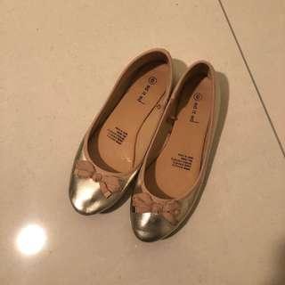 Gold Bow Ballet Flats