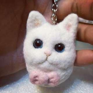 🚚 羊毛氈貓咪鑰匙圈