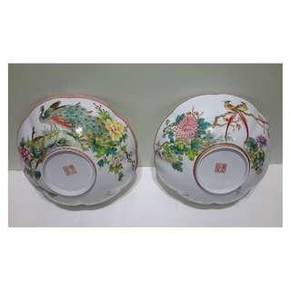 省高工徐國明 -「花鳥」薄胎粉彩瓷對碗