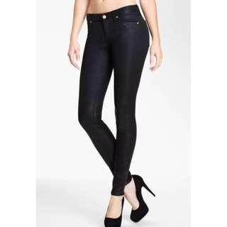 "Coated Skinny Jeans, Black - M (28"")"
