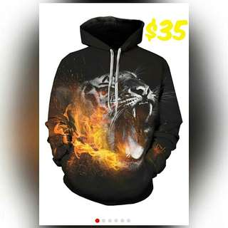 3D hoodie with a leopard in flames. Plus size available