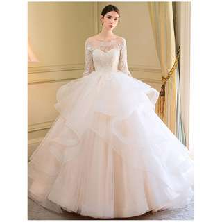 pre order cream long sleeve peacock fishtail Muslimah fishtail prom wedding bridal dress gown  RB0634