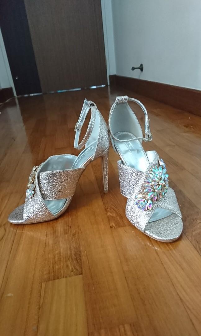 Asos gold jeweled high heel sandals